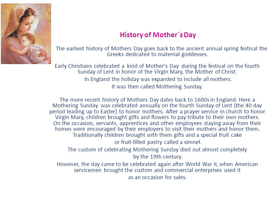 History of Mothers Day