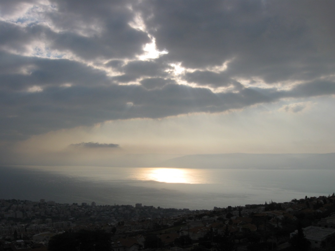 Storm clouds over the Sea of Galilee